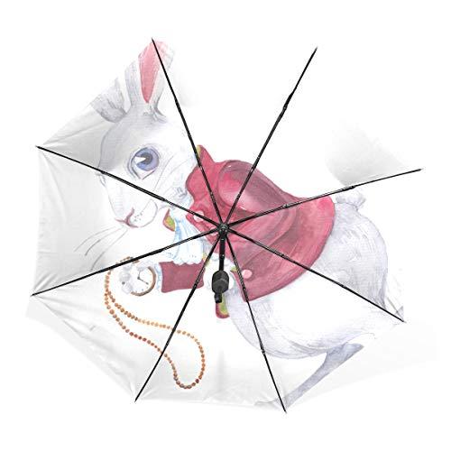 XL Rain Umbrella Rabbit with Cups Hearts Rose Flower Alice Cartoon Portable Compact Folding Paraguas Anti UV Protection Windproof Outdoor Travel Women Quality Umbrella