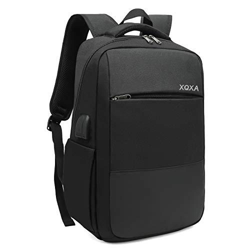 XQXA Mochila Unisex Impermeable para Ordenador Portátil de hasta 15.6 Pulgadas, con Puerto USB, Conector para Auriculares y Bolsillo Antirrobo. para los Estudios, Viajes o Trabajo - Negro