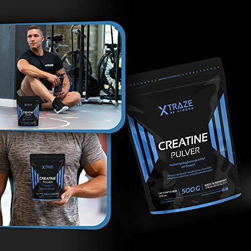 XTRAZE® Creatina Monohidrato en Polvo 500 g, Creatine Vegana 100% pura, Suplemento Deportivo sin Aditivos Innecesarios, para el Entrenamiento con Pesas, Muscular Aumentar, Fitness y Deporte