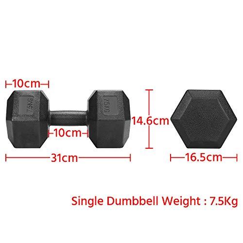 Yaheetech 2 X 7,5 KG Mancuernas de Ejercicio Mancuernas Hexagonales Mancuernas para Gimnacio Fitness PVC Revestimiento