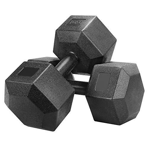 Yaheetech Un Set de 2 Piezas Mancuernas de Ejercicio Mancuerna para Gimnasio Fitness Negra 7,5 KG