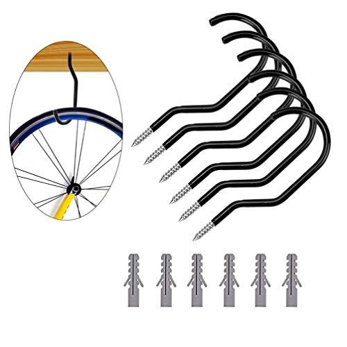 Yardwe Ganchos para bicicleta Gancho de pared para bicicleta Ganchos de almacenamiento de bicicleta para pared y techo de garaje (4 piezas pernos + 4 piezas bicicleta gancho)