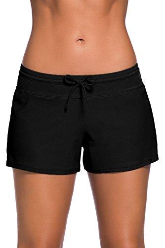Yavero Shorts de Baño Mujer Bañador Short Deportes Acuáticos Shorts de Natación Secado Rápido Bikini Short Cortos con Cordón Ajustables Negro M