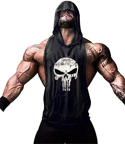 YeeHoo Hombre Camisetas de Tirantes con Capucha Deportiva Fitness Culturismoa Tank Top