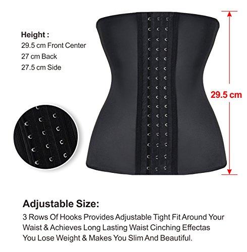 YIANNA Mujer Fajas Reductoras Corsé Waist Trainer Corset Reductor Adelgazante Bustiers de Cinturón Formación Negro,UK-YA- U37G-Black-M