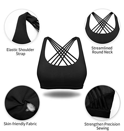 YIANNA Sujetador Deportivo Mujer sin Aros con Relleno Yoga Top Sports Bra Bralette Sujetadores Deportivos Negro, 147 - Size M
