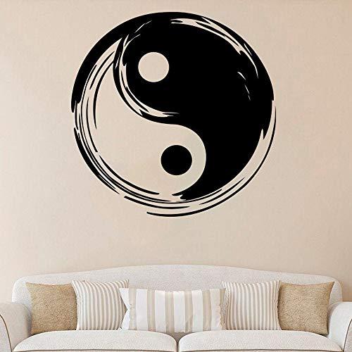Yin Yang Vinilo Tatuajes De Pared Yoga Fitness Studio Impermeable Vinilo Removible Decoración Para El Dormitorio 57X57Cm