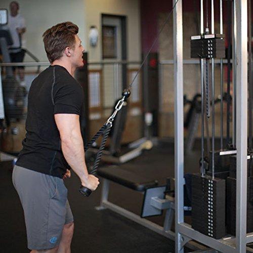 yiqi Heavy Duty Tricep Rope Cable de fijación para Fitness, Body Building & Gimnasio – Pull Down Cuerda Equipo, Negro