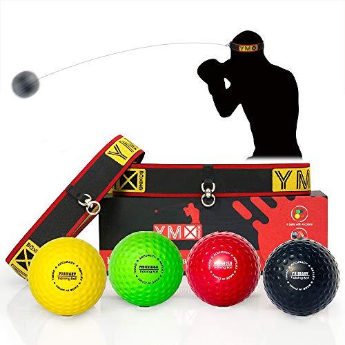 YMX BOXING Pelotas de Reflejo/Boxing Reflex Ball — 4 Pelotas de Reacción de Reflejo más 2 Ajustables, Ideal para Reflejos, Sincronización, Precisión, Enfoque y Coordinación de Mano Ojo