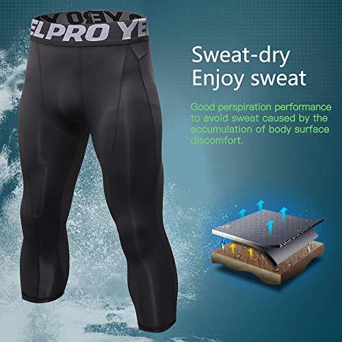 Yuerlian Mallas 3/4 para hombre de compresión en seco frío para correr, gimnasio, entrenamiento, pantalones capri, Hombre, Línea negra, large