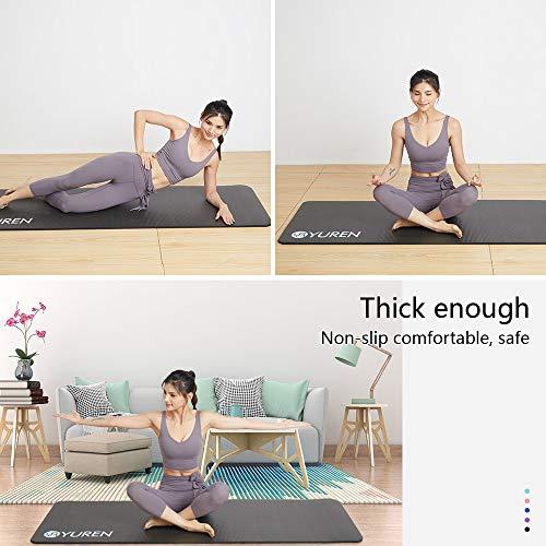 YUREN Esterilla para Yoga 183cm x 61cm 15mm Grosor Pilates Gimnasia Yoga Colchoneta Esterilla Antideslizante NBR Yoga Fitness