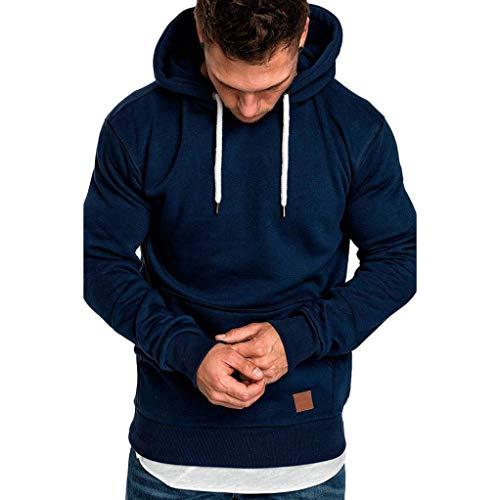 Yvelands ¡Oferta Sudaderas con Capucha para Hombre Cosy Sport Outwear Sudadera con Cremallera Completa Ecosmart Hoodie Casual Sweatshirt Top Blouse ¡Caliente!(Azul Marino,XXXL)