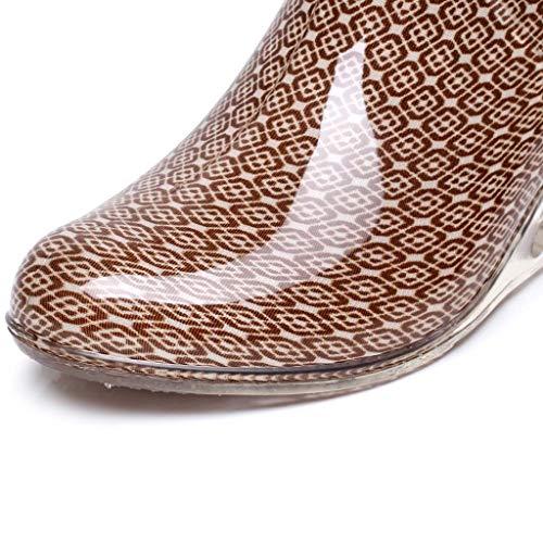 YWLINK Botas De Lluvia Mujer Botas De Nieve Estilo Punk TamañO Grande Zapatos con CuñA Transparentes Zapatos De Goma Zapatos De Agua Transpirable Calzado Industrial ConstruccióN(Caqui,38EU)