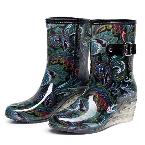 YWLINK Botas De Lluvia Mujer Impermeable Leopardo Zapatos con CuñA Botas De Nieve Estilo Punk Zapatos De Agua Transparentes Zapatos De Goma Moda CóModo TamañO Grande Tubo Medio Y Alto(Azul,36EU)