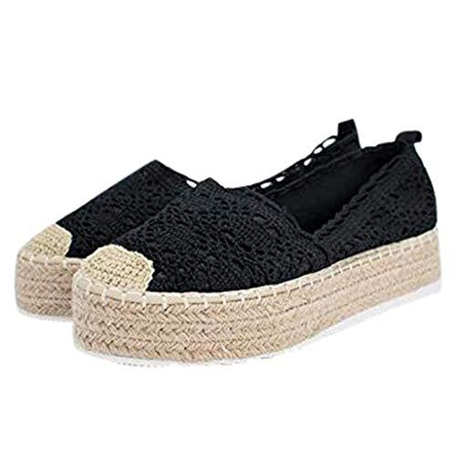 YWLINK Plataforma Hueca para Mujer Zapatos Casuales Color SóLido Transpirable CuñA Alpargatas Antideslizante CóModo Zapatos Romanos Bohemia TamañO Grande Fiesta Deportes Al Aire Libre(Negro,40EU)