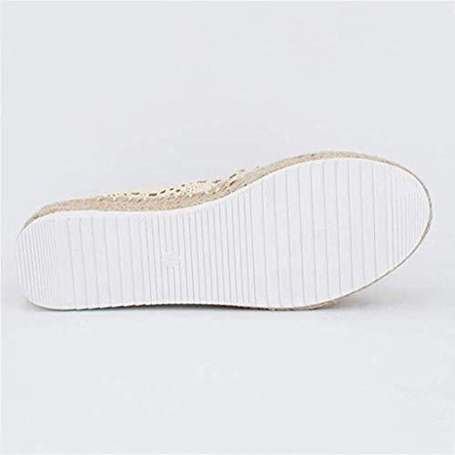 YWLINK Plataforma Hueca para Mujer Zapatos Casuales Color SóLido Transpirable CuñA Alpargatas Antideslizante CóModo Zapatos Romanos Bohemia TamañO Grande Fiesta Deportes Al Aire Libre(Beige,40EU)
