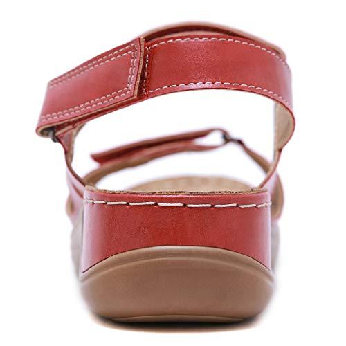 YWLINK Sandalias De Talla Grande para Mujer Zapatos De Playa con Punta Abierta De Verano Sandalias Deportivas Antideslizantes Fondo Plano Zapatillas Casual(Rojo,42EU)
