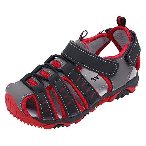 YWLINK Sandalias Deportivas NiñOs Zapatos para NiñOs Punta Cerrada Verano Playa Sandalias Zapatos,Zapatillas Antideslizante Fondo Blando Casuales(Rojo,24EU)