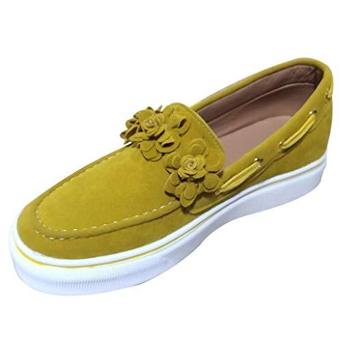 YWLINK Zapatos Casuales Flor De Cabeza Redonda De Gran TamañO Zapatos De Mujer Plataforma Zapatillas De Deporte Transpirable Moda Lienzo Botines Simple Viaje De Fiesta En La Playa(Amarillo,39EU)