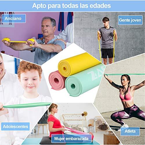 Zacro Bandas Elasticas Fitness 3 Pcs, 1.8M Banda de Resistencia de Fitness para Hombres y Mujeres, Ideal para Yoga, Pilates, Crossfit, Estiramiento, Entrenamiento de Fuerza, Culturismo, Fisioterapia