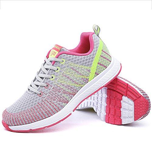 Zapatillas de Deportivos de Running para Mujer Gimnasia Ligero Sneakers Gris-Amarillo 40