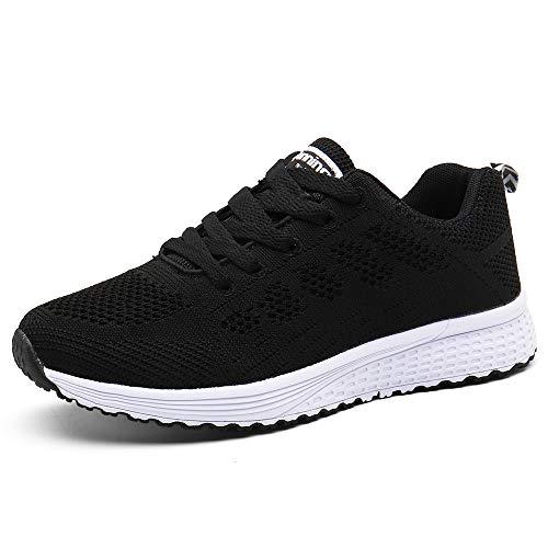Zapatillas de Deportivos de Running para Mujer Gimnasia Ligero Sneakers Negro Azul Gris Blanco 35-40 Negro 39