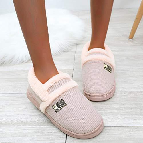 Zapatillas de Estar por casa de Algodón para Mujer Cómodas Pantuflas Invierno Antideslizante Mujeres Hombres Parejas Cloud Flock Zapatillas Antideslizantes cálidas para el Piso Zapatillas de casa