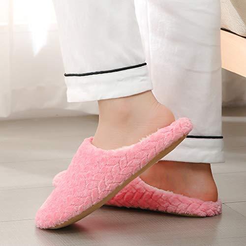 Zapatillas de Estar por casa para Mujer Impermeables de Pantuflas Térmicos de Invierno Suave Algodón Casa Zapatos Cómodo Y Antideslizante Zapatillas de casa de Zapatillas cálidas para Hombre