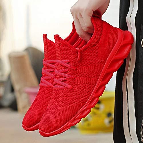 Zapatillas de Running para Hombre Casual Tenis Asfalto Zapatos Deporte Fitness Gym Correr Gimnasio Deportives Transpirables Seguridad Atlético Trekking Bambas Plataform Sneakers Rojo 45 EU