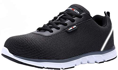 Zapatillas de Seguridad Hombres,LM-30 Zapatos de Trabajo de Cabeza de Acero Transpirable Reflectante súper Ligero Antideslizante