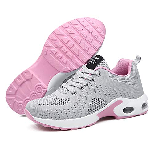 Zapatillas Deportivas de Mujer Air Cordones Zapatillas de Running Fitness Sneakers 4cm Gris 39