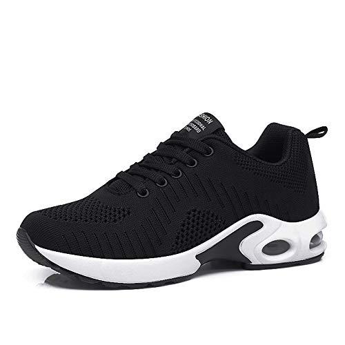 Zapatillas Deportivas de Mujer Air Cordones Zapatillas de Running Fitness Sneakers 4cm Negro-1 39