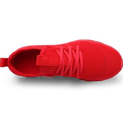 Zapatillas Deportivas Running de Mujer para Correr Asfalto Zapatos Gimnasia Deporte Fitness Casual Transpirables Seguridad con Cordones Atlético Gym Trekking Sneakers Plataform Calzado Rojo 39 EU