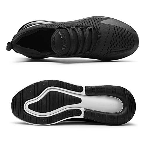 Zapatillas Running Hombre Antideslizantes Ligeras Zapatillas de Correr Casual para Deportivas de Malla Negro 39