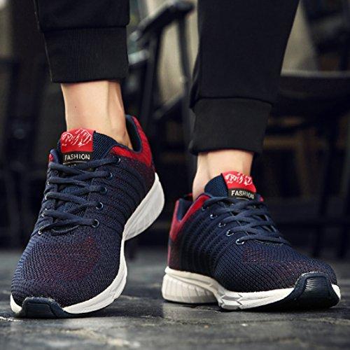 ZapatillasRunningpara Hombre Aire Libre y Deporte Transpirables Casual Zapatos Gimnasio Correr Sneakers Azul 45