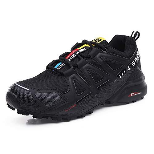 Zapatillas Trekking Hombre Zapatillas Senderismo Transpirable Antideslizante Al Aire Libre Zapatillas de Deporte Negro 42