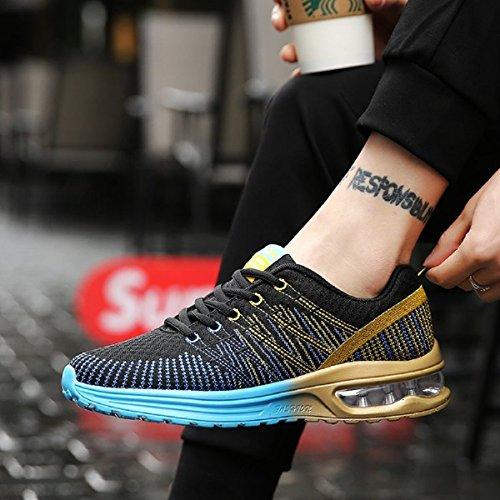 Zapatos de Running Para Hombre Zapatillas Deportivo Outdoor Calzado Asfalto Sneakers Negro Azul 41