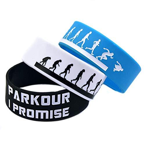 Zdy Pulsera Silicona 2Pcs 1 Pulgada Deportes Pulsera Parkour Parkour Pulsera Silicona I Promise Colorear Logo,Azul