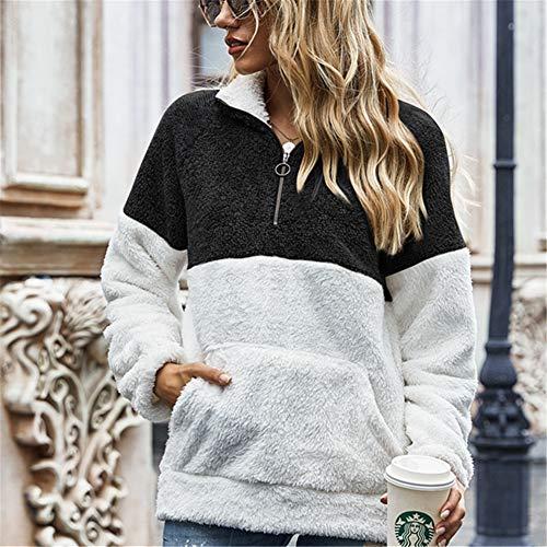 ZFQQ Otoño e Invierno Mujer Multicolor Estampado de Leopardo Cosido Cobertura Tie-Dye Doble Cara suéter de Lana Chaqueta Suelta