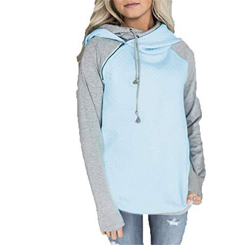 ZFQQ Otoño e Invierno suéter de Mujer con Cremallera Oblicua Doble Sombrero Cosido con Capucha Abrigo a Cuadros