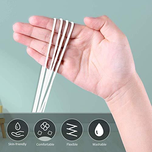 ziidoo Goma Elástica Específica para Mascarillas,Cuerda elástica(3mm 10Metros) y 30pcs Puente Nasal,cintas elásticas redondas blancas para máscara Bricolaje y costura