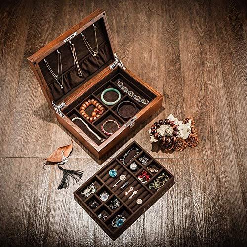 ZKORN Colección de Racks de Almacenamiento de Joyas Colección Accesorios de Madera Maciza con Cerradura Retro (Color: MARRÓN, Tamaño: 30x22x10cm)