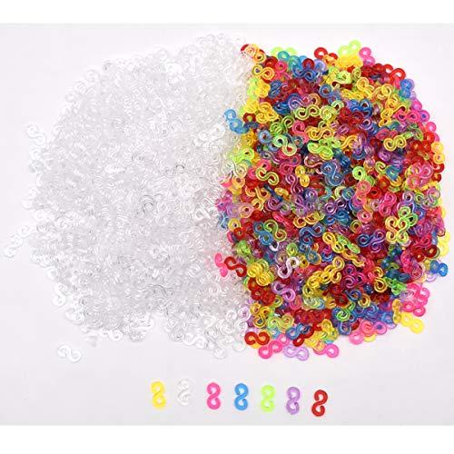 Zliger Telar S Clips Loom Bands Conexión S-Clips Ganchos Clip S Plástico Telar Band Kit de Pulseras de Goma para Pulseras de la Joyería Que Hace la Accesorios Herramienta (500 Blanco+500 Vistoso)