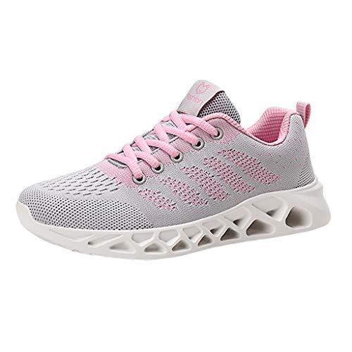 ZOELOVE Zapatillas de Running para Mujer Correr Zapatillas de Deporte de Primavera y Verano Gimnasio Calzado Ligero y Casual Zapatos Individuales cómodos Malla de Deportivos/Rosado,39