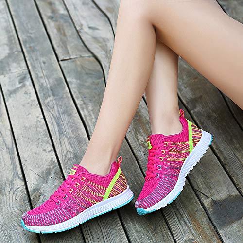 ZOELOVE Zapatillas de Running para Mujer Correr Zapatillas de Deporte de Primavera y Verano Gimnasio Ligero Calzado Individual cómodo Malla para Exteriores Transpirable Suave/Mujer-HP1,37