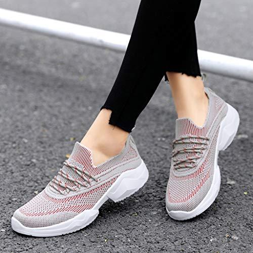 ZOELOVE Zapatillas de Running para Mujer Zapatillas de Deporte de Primavera y Verano Gimnasio Ligeras Calzado Sencillo y cómodo Fondo Suave y Transpirable con Cordones/Rojo,39
