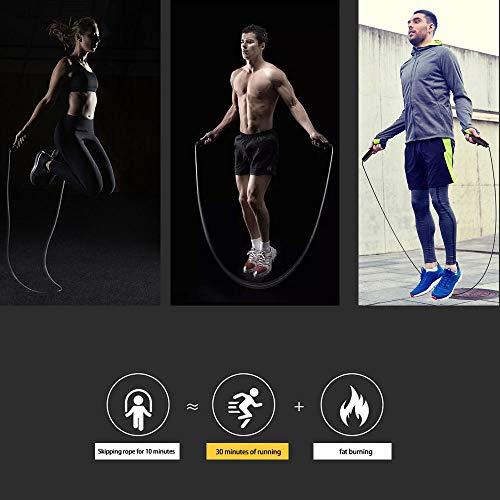 ZoneYan Cuerdas de Saltar, Cuerdas Saltar Fitness, Skipping Rope, Comba Boxeo Professional, Comba de Saltar Ajustable, Fácilmente Ajustable, 2.8m Cable, para Fitness, Gym