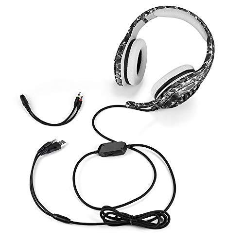 ZYXM Head Mounted Gaming Headset USB + 3,5 mm Universal de Auriculares con Cable Camuflaje Manos Libres Ordenador Luminoso Gaming Headset Auricular for Juegos de PS4 (Color : Gray)