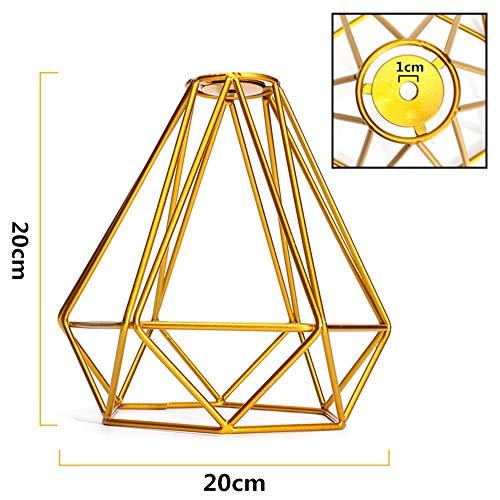 ZZM - Lámpara de techo con forma de jaula de diamantes, estilo retro, industrial, diseño geométrico, color blanco, dorado, 2 unidades