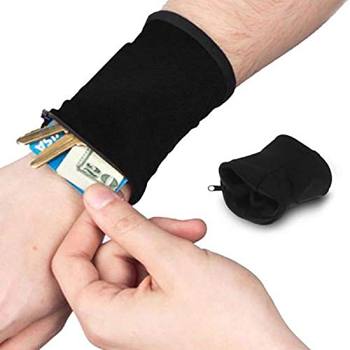ZZSNT (Pack of 2) Wrist Pouch, Sports Wrist Wallet, Ankle Wallet Pouch, Sweat Bands, Hidden Pouch, Wristlet Wallet for Running Travel Gym Black